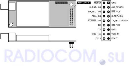 Модуль СПЕКТР-433 OEM (плата модемная) - распиновка разъема