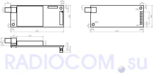 Радиомодем СПЕКТР-433 OEM (плата модемная) - размеры